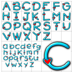 abc alphabet background hearts design