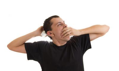 Man yawning and stretching