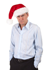 Grumpy Man in Christas Santa Hat Bah Humbug