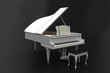 White piano on dark background