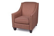 Maroon and tan patterened armchair