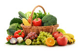 Fototapety Composition with vegetables and fruits in wicker basket isolated