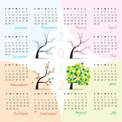 2012 calendar -  four seasons theme