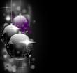 Weihnachtsmotiv mit Kugeln in schwarz und lila