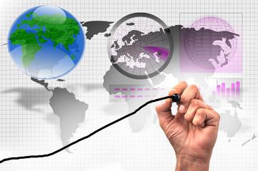 Hand zeichnet vor Hintergrund mit Weltkarte und Radar