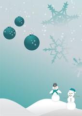 Weihnachtliche Schneemänner und Sterne in petrol