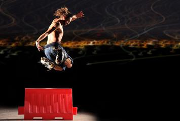 Inline rider jumps