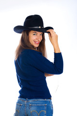 Pretty woman in a cowboy hat