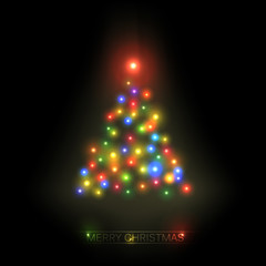 Vector christmas tree from colorful lights