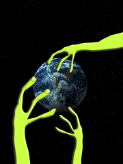 Alien Arm Grabbing The World