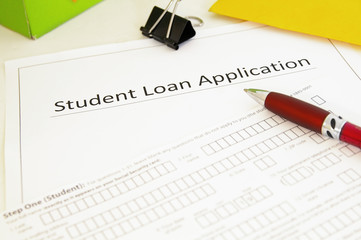 closeup of a blank student loan application