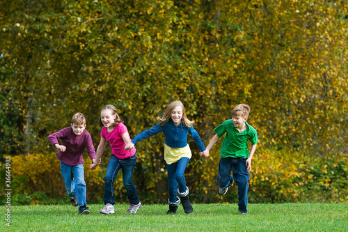 Group of kids racing outside
