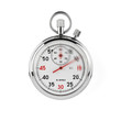 Speeding stopwatch on white background with clipping path