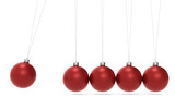 Newtons cradle Christmas Edition. Red balls. Side View