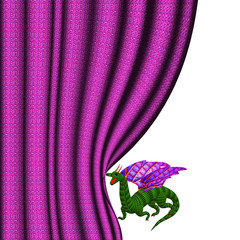 Dragon removing a lilac curtain