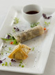 Vegetarian springroll with a vegetable puff and soya