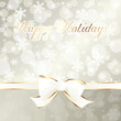 Elegant cream-colored holiday banner with white ribbon