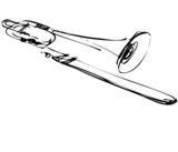 Sketch of copper musical instrument trombone