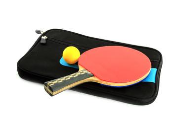 Table tennis racket  and ball with case on white blackground