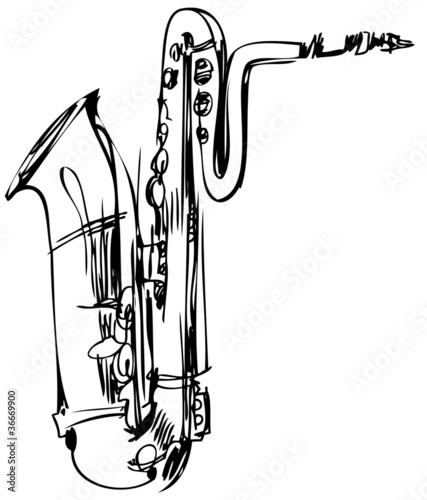 sketch of a brass musical instrument saxophone bass