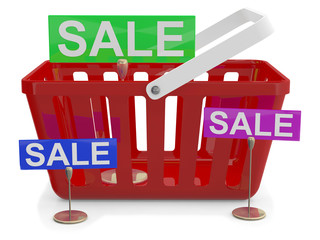 Shopping basket with sign sale