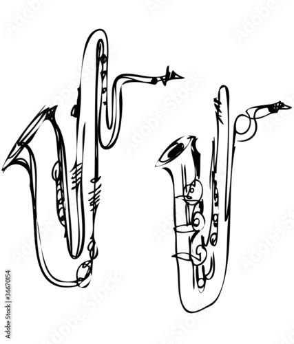 sketch brass musical instrument saxophone bass baritone