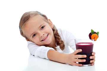 Healthy happy girl with fresh juice