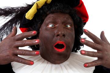 Closeup of funny Zwarte piet ( black pete) typical Dutch