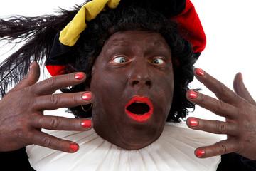 Closeup of funny Zwarte piet ( black pete) typical Dutch