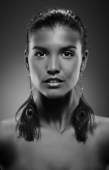 Black-and-white portrait of beautiful woman