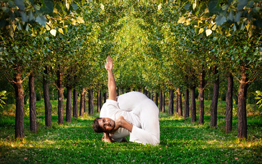 Yoga advance pose in forest