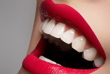 Fototapety Close-up happy female smile with healthy white teeth