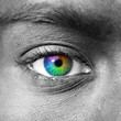 Multicolored human eye macro shot
