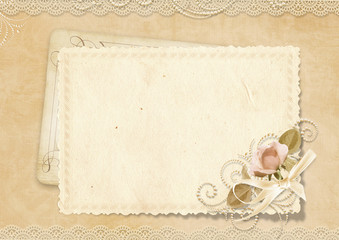 Greeting vintage card with space for photo and text