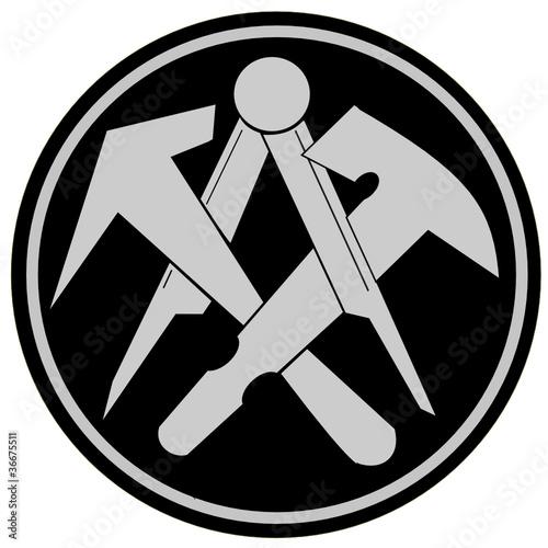Dachdecker symbol  GamesAgeddon - Aufkleber, Werkzeuge, Dachdecker Logo - Lizenzfreie ...