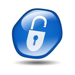 Boton brillante azul hexagonal simbolo candado abierto