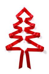 Roter Weihnachtsbaum mit Schleife