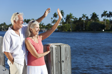 Happy Senior Couple Waving Outside in Sunshine by Sea