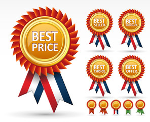 Sign best price, product, seller and choice award or label