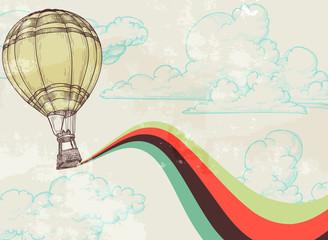 Retro hot air balloon sky background
