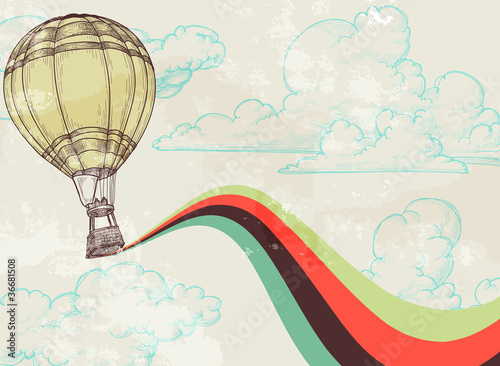 Retro hot air balloon sky background - 36681508