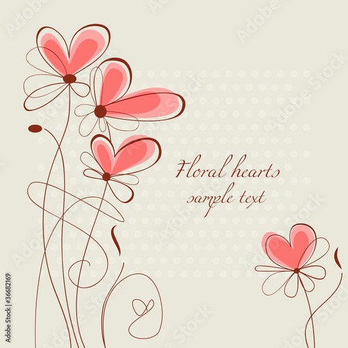 Floral hearts ornament
