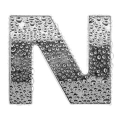 Сhrome alphabet symbol - letter N. Water splashes and drops on