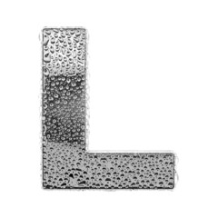 Сhrome alphabet symbol - letter L. Water splashes and drops on