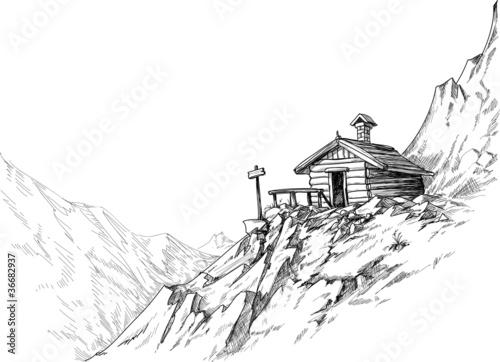 Mountain hut sketch - 36682937
