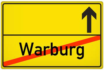 Ortsausgangsschild Stadt Warburg