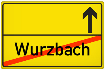 Ortsausgangsschild Stadt Wurzbach