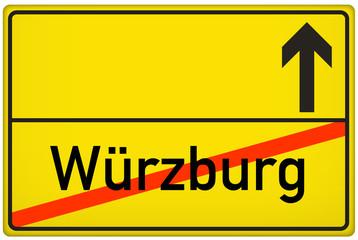 Ortsausgangsschild Stadt Würzburg