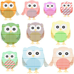 owl set isolated on white. Vector illustration