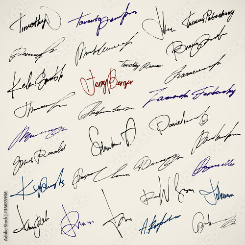 Signature writing vector signs